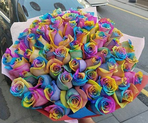 flowers, bouquet, and rainbow image