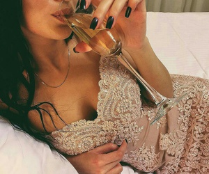 girl, dress, and champagne image