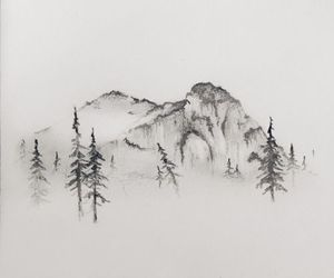 mountains, art, and draw image