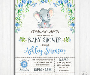 etsy, watercolor flowers, and elephant baby shower image