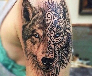 tattoo, wolf, and art image