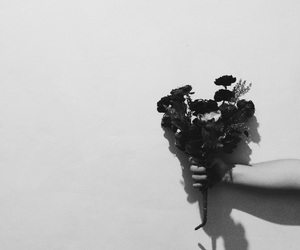 black and white, fake flowers, and flowers image