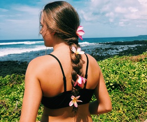 beach, bohemian, and flowers image