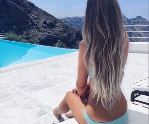 bikini, gray hair, and pool image