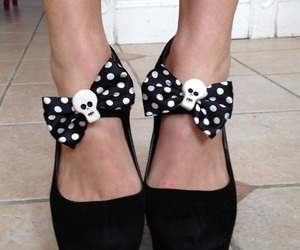 shoes, skull, and black and white image