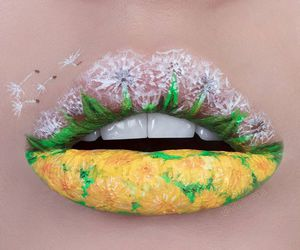 lips, beauty, and flowers image