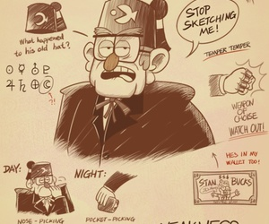 gravity falls, cartoon, and stanley pines image