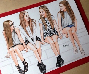 drawing, girl, and friends image