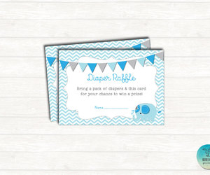 blue elephant, shower invitation, and diaper raffle ticket image