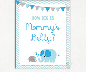 blue and grey, blue elephant, and chevron baby shower image