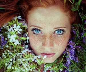 girl, flowers, and blue eyes image