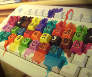keyboard, colorful, and paint image