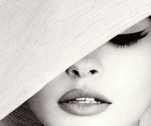 black and white, lips, and model image