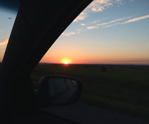 evening sky, car trip, and feelings image