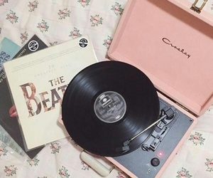 the beatles, girly accessories, and pink record player image