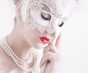 white, mask, and pearls image