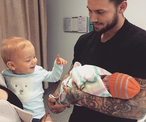 family, baby, and father image