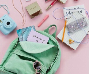 pink, pastel, and backpack image