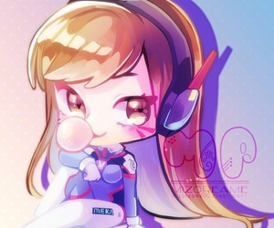 chibi, d.va, and overwatch image