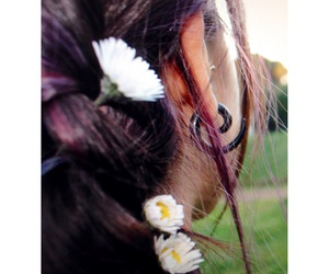 colored hair, daisies, and violet hair image