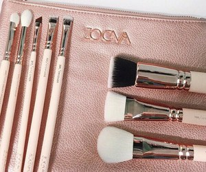 Brushes, makeup, and rosegold image