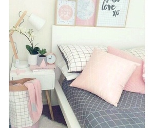 bed, pink, and décoration image
