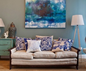 home, blue wall, and livingroom image