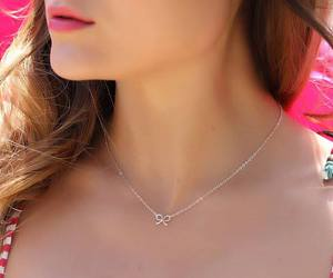 silver bow necklace, tiny bow necklace, and bridal necklace image