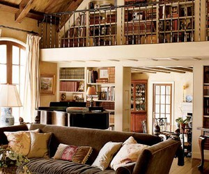 bookcase, books, and living room image