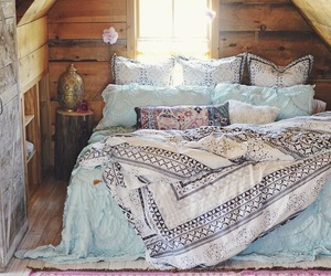 bedroom, bed, and hipster image