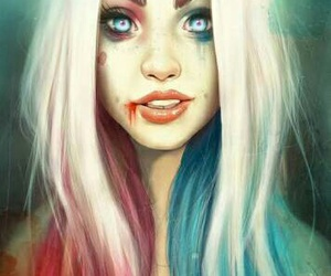 harley quinn, ❤, and ⚫ image