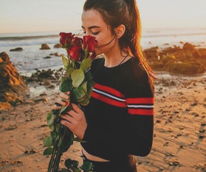 couple, flowers, and girl image