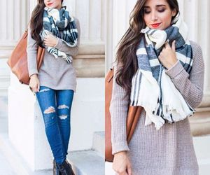 plaid scarf outfit image