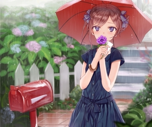 anime girl, rain, and umbrella image