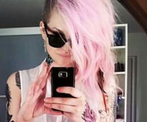tattoo, hair, and pink hair image