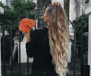 blonde, hairstyle, and long image