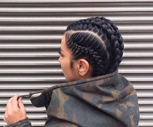 braids, brunette, and jacket image