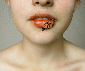 butterfly, girl, and lips image