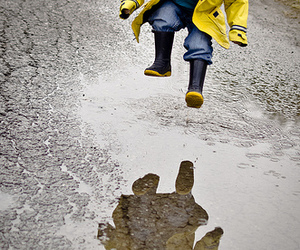 boy, happiness, and puddle image