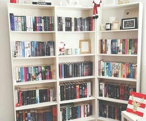 books, bookshelf, and bookcase image