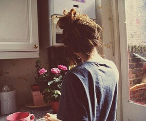 girl, photo, and flowers image