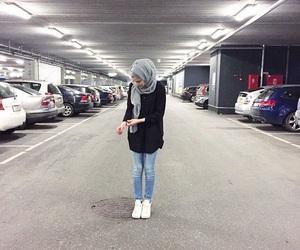 fashion, hijab, and jeans image