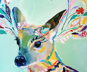art, deer, and painting image