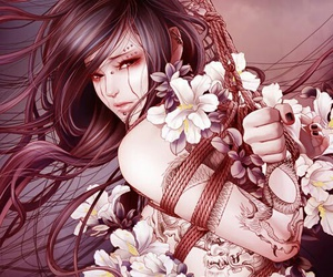 fantasy, female, and flowers image