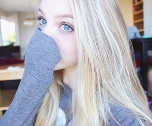 girl, blonde, and eyes image