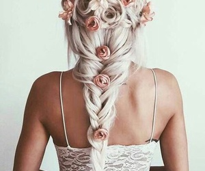 hairstyle, rose, and pretty image