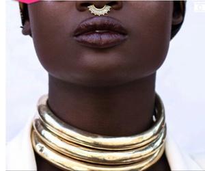 chocolat, lip, and gold image