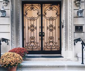 door and flowers image
