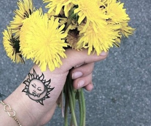 flowers, tattoo, and sun image