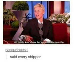 funny, shipper, and ellen image
